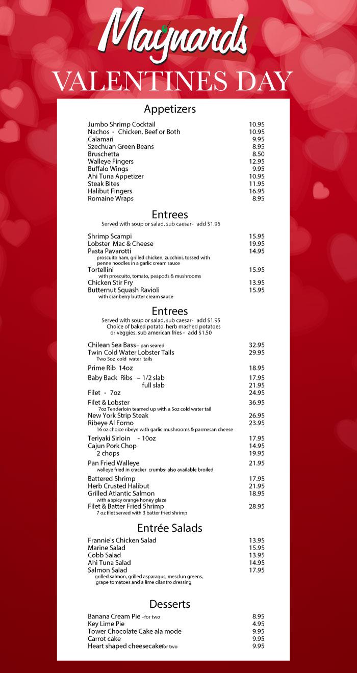 Maynards Valentine's Day Menu