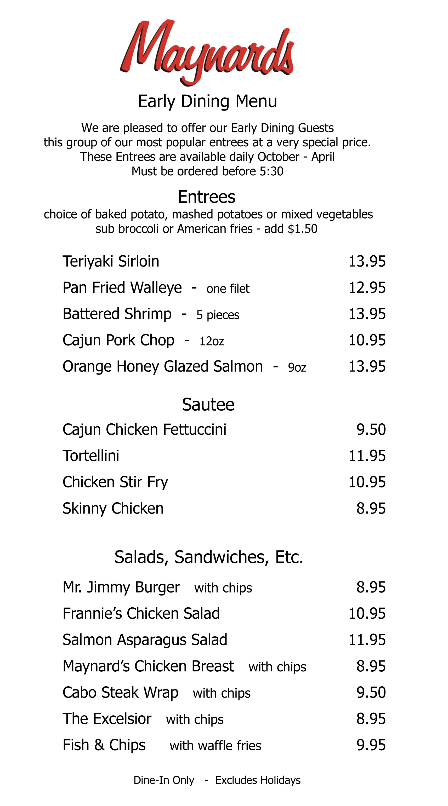 Early-Dining-Menu